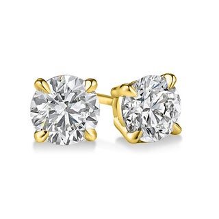 Sterling Silver Round-cut Diamond 1ct TDW Solitaire Certified Stud Earrings (H-I, I2-I3)