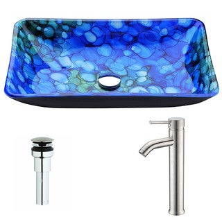 ANZZI Voce Series Lustrous Blue Deco-Glass Vessel Sink with Fann Polished Chrome Faucet