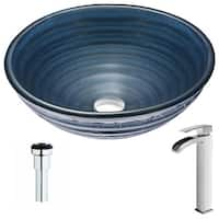 ANZZI Tempo Series Coiled Blue Deco-Glass Vessel Sink with Key Polished Chrome Faucet