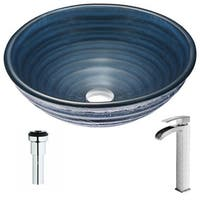 ANZZI Tempo Series Coiled Blue Deco-Glass Vessel Sink with Key Brushed Nickel Faucet