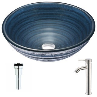 ANZZI Tempo Series Coiled Blue Deco-Glass Vessel Sink with Fann Brushed Nickel Faucet