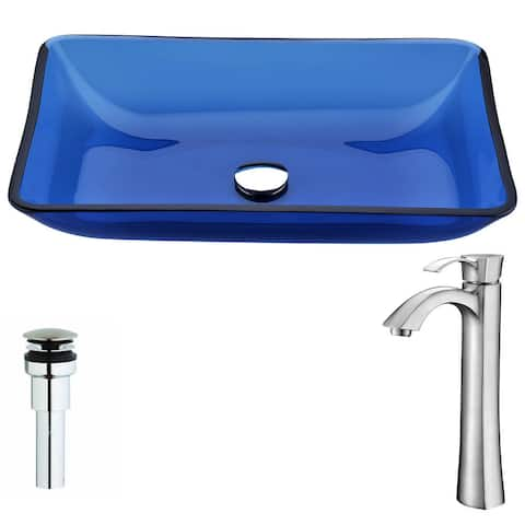 ANZZI Harmony Series Cloud Blue Deco-Glass Vessel Sink with Harmony Brushed Nickel Faucet