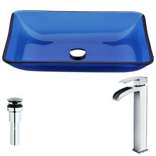Anzzi Harmony Series Deco-glass Vessel Sink in Cloud Blue with Key Faucet in Polished Chrome