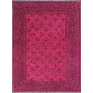 Affan Overdyed Pink/Dark Pink Wool Rug (4'2 x 6'3)