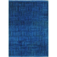 Blue/Black Wool Overdyed Hand-knotted Muizz Area Rug (4' x 5'10)