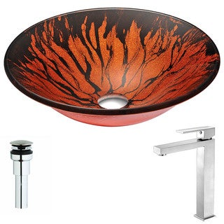 ANZZI Forte Series Lustrous Red and Black Deco-Glass Vessel Sink with Enti Brushed Nickel Faucet