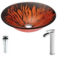 Anzzi Forte Series Deco-glass Vessel Sink in Lustrous Red and Black with Key Faucet in Brushed Nickel
