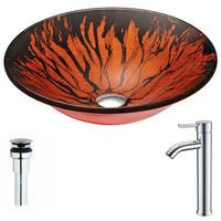 ANZZI Forte Series Lustrous Red and Black Deco-Glass Vessel Sink with Fann Chrome Faucet
