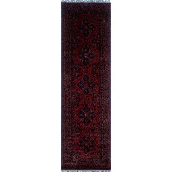 Red/Black Wool Khal Mohammadi Tanzilya Rug (2'8 x 9'6) - 2'8 x 9'6