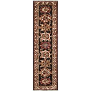Super Kazak Ahab Blue/Ivory Wool Runner Rug (2'9 x 10'0)