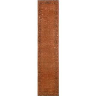 Bari Distressed Orange/Brown Wool Runner Rug (2'5 x 12'8)