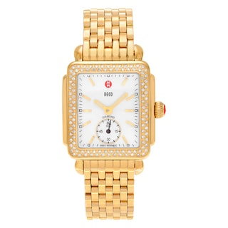 Michele Women's 'Deco 16' MWW06V000003 Goldtone 1/2 CT TDW Diamond Mother of Pearl Dial Link Bracelet Watch