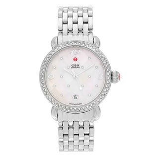 Michele Women's 'CSX' MWW03R000002 Stainless Steel 5/8 CT TDW Diamond Mother of Pearl Dial Link Bracelet Watch
