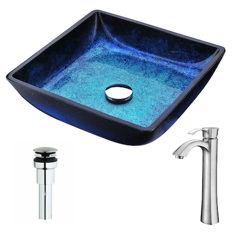 ANZZI Viace Series Blazing Blue Deco-Glass Vessel Sink with Harmony Brushed Nickel Faucet