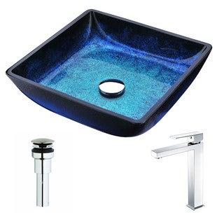 ANZZI Viace Series Blazing Blue Deco-Glass Vessel Sink with Enti Chrome Faucet