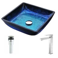 ANZZI Viace Series Blazing Blue Deco-Glass Vessel Sink with Enti Brushed Nickel Faucet