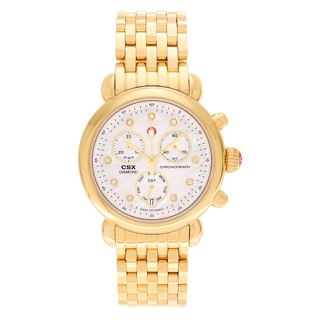 Michele Women's 'CSX' MWW03M000201 Goldtone Stainless Steel 1/10 CT TDW Diamond Mother of Pearl Dial Link Bracelet Watch