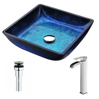 ANZZI Viace Series Blazing Blue Deco-Glass Vessel Sink with Key Brushed Nickel Faucet