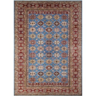 Blue/Red Wool Super Kazak Warith Rug (10'3 x 14'3)