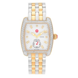 Michele Women's 'Urban Mini' MWW02A000558 Two Tone Stainless Steel 3/4 CT TDW Diamond Link Bracelet Watch