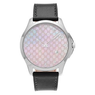Gucci Women's 'G-Timeless' YA126307 Stainless Steel 1/10 CT TDW Diamond Mother of Pearl Dial Gray Leather Strap Watch|https://ak1.ostkcdn.com/images/products/13777741/P20430269.jpg?impolicy=medium
