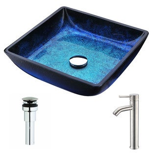 ANZZI Viace Series Blazing Blue Deco-Glass Vessel Sink with Fann Brushed Nickel Faucet