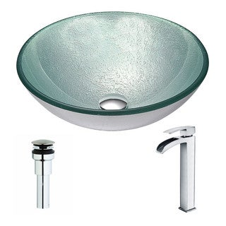 Anzzi Spirito Series Deco-glass Vessel Sink in Churning Silver with Key Faucet in Polished Chrome