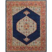 Chobi Asfar Blue/Rust Wool Rug (8'3 x 10'3) - 8'3 x 10'3