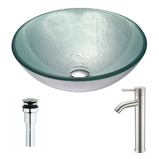 ANZZI Spirito Series Churning Silver Deco-Glass Vessel Sink with Fann Chrome Faucet