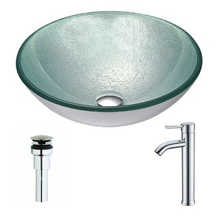 Anzzi Spirito Series Deco-glass Vessel Sink in Churning Silver with Fann Faucet in Brushed Nickel