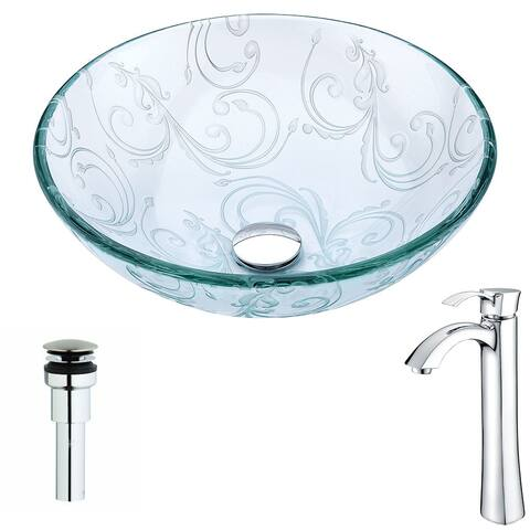Anzzi Vieno Series Deco-glass Vessel Sink in Crystal Clear Floral with Harmony Faucet in Chrome