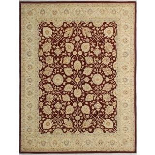 Peshawar Azeem Rust/Ivory Wool Rug (7'8 x 9'8)