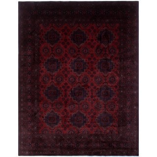 Khal Mohammadi Tursin Red, Black Wool Rug (9'8 x 12'8)