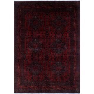 Khal Mohammadi Umitjan Red/Black Wool Rug (8'0 x 11'3)