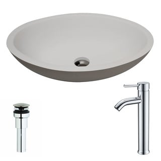 ANZZI Maine 1-Piece Matte White Manmade Stone Vessel Sink with Fann Chrome Faucet