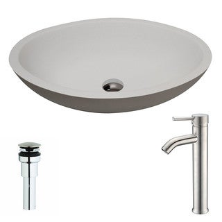 ANZZI Maine Series 1-Piece Matte White Manmade Stone Vessel Sink with Fann Brushed Nickel Faucet