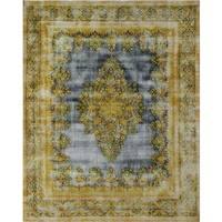 Distressed Hafiz Blue, Gold Wool Rug (9'4 x 12'0)