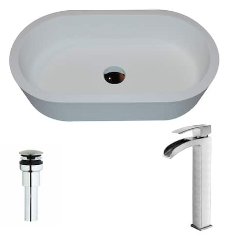ANZZI Vaine Series 1-Piece Matte White Manmade Stone Vessel Sink with Key Brushed Nickel Faucet