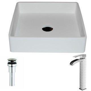 ANZZI Passage Series 1-Piece Matte White Manmade Stone Vessel Sink with Key Brushed Nickel Faucet