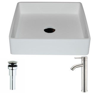 ANZZI Passage Series 1-Piece Matte White Manmade Stone Vessel Sink with Fann Brushed Nickel Faucet