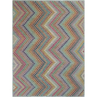 Kilim Adham Green and Rust Wool Rug (8'4 x 11'4)
