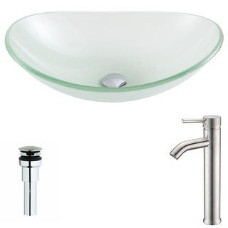 ANZZI Forza Series Lustrous Frosted Deco-Glass Vessel Sink with Fann Brushed Nickel Faucet