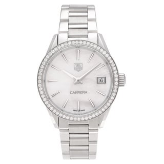 Tag Heuer Women's 'Carrera' WAR1315.BA0778 Stainless Steel 5/8 CT TDW Diamond Mother of Pearl Dial Link Bracelet Wacth