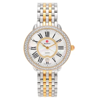Michele Women's 'Serein' MWW21B000032 Two Tone Stainless Steel 5/8 CT TDW Diamond Mother of Pearl Dial Link Bracelet Watch