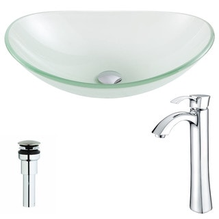 ANZZI Forza Series Lustrous Frosted Deco-Glass Vessel Sink with Harmony Chrome Faucet