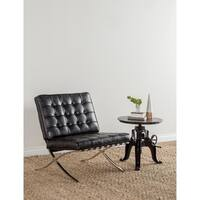 Huntley Adjustable Distressed Black Crank Table by Kosas Home