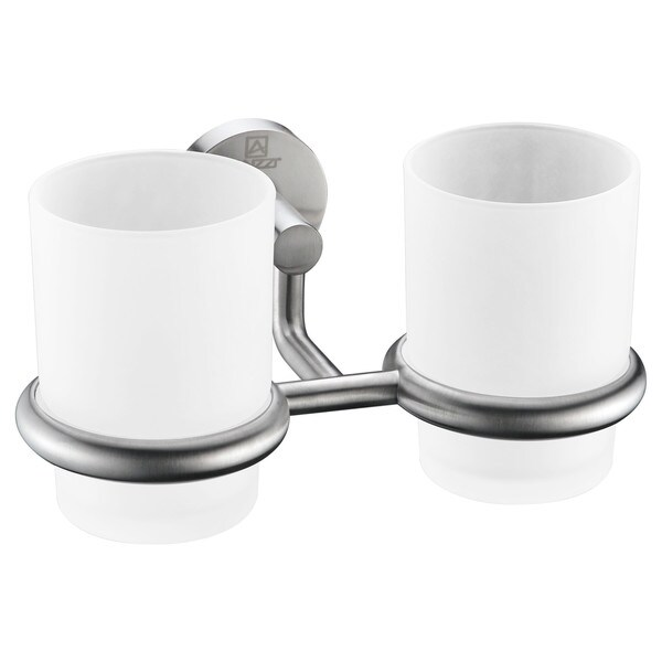 ANZZI Caster Series Double Toothbrush Holder in Brushed Nickel 22846688