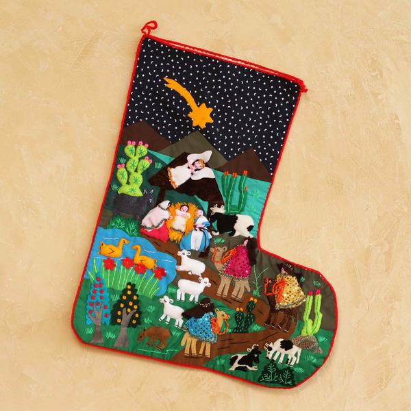 Applique 'The Arrival of the Magi' Christmas Stocking (Peru)