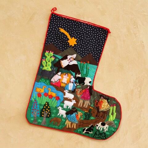 Applique 'The Arrival of the Magi' Christmas Stocking (Peru)