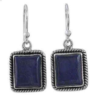Handcrafted Sterling Silver 'Blue Frame' Lapis Lazuli Earrings (India)